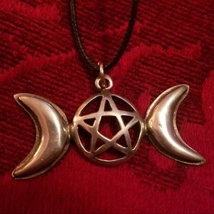 Jewelry - Triple Moon Pentagram Pendant Witch Wiccan